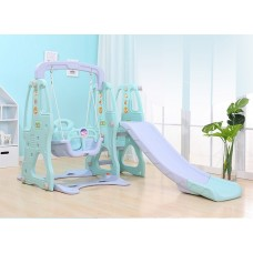 Indoor / Outdoor Three in One Kid's Slide Swing Set with Basket