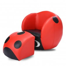 Kids Children Ladybug Theme Chair Armchair Sofa with Ottoman Furniture Set