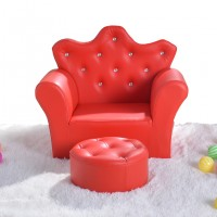 Kids Children Diamond Crown PU Leather Sofa Set with Footstool  - Red - MSF15