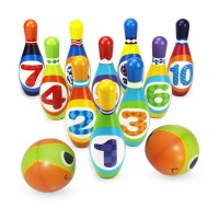 Kids Bowling Ball Game Set, PU Fun Plastic Bowling Set with 10 Pins and 2 Bowling Balls for Indoor & Outdoor