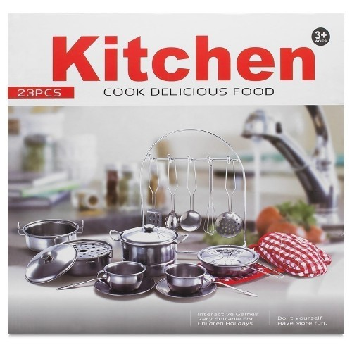 Children S Quality 23 Pc Toy Stainless Steel Kitchen Set Pots Pans