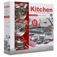 Children's High Quality 23 Pieces Stainless Steel Kitchen Set Pots Pans and Accessories