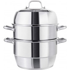 11.8 Inches (30cm) Heavy-Duty Stainless-Steel Steamer Pot, 3 Tier Food Stacked Stream Set