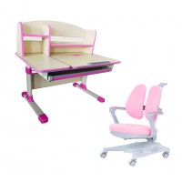 Children Kids Ergonomic 1M Study Desk with Adjustable Double-Winged Swivel Chair Set