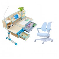 Children Kids Ergonomic Study Desk with Adjustable Double-Winged Swivel Chair Set