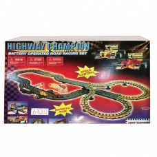 Highway Champion: Battery Operated Road Racing Set Electric RC Track Sets for Kids Gift Toy Railway Tracks Cars Child Interaction Remote Control Rail Car