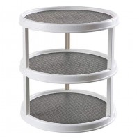 Plastic Turntable Kitchen Organizer, 360 ° Rotating Spice Rack, 3-Layer Circular Food Storage Tray