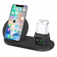3 in 1 Qi Wireless Fast Charging Stand for iPhone 8/ 8Plus/ X/ Xr/ Xs/ Xs Max, Apple Watch 1/ 2/ 3/ 4, and Airpods support