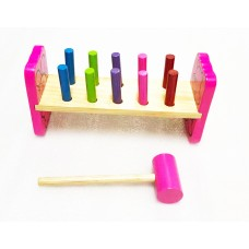 Kids Educational Wooden Hammer Bench Pound A Peg Counting Game